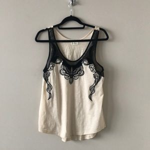 UO - Pins and Needles Lace Velvet Cream Tank Top